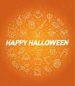 Halloween Circle Infographics, Happy Halloween Vector Poster, Halloween Banner, Halloween Background poster
