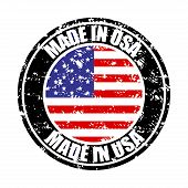 Made In Usa, Colored Rubber Stamp. Vector United States Manufacture Stamp, Fabricated In America, Us poster