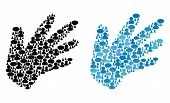 Hand Mosaics Of Chat Clouds And Men Symbols. Vector Mosaic In Blue Color Tints. Customers And Chat B poster