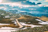 Aurlandsfjellet, Norway. Open Road Aurlandsfjellet. Scenic Route Road In Summer Norwegian Landscape. poster