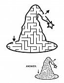 Halloween Festival Themed Maze Or Labyrinth, Witch Hat Shaped. Answer Included. poster