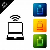 Laptop And Free Wi-fi Wireless Connection Icon On White Background. Wireless Technology, Wi-fi Conne poster