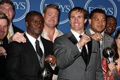 LOS ANGELES - JULY 14:  Reggie Bush, Jeremy Shockey, Drew Brees, New Orleans Saints - ESPY for Best