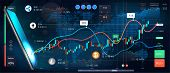 Cryptocurrency Online Statistics And Data Analytics. Trade Online From Phone, Vector Banner. Forex M poster