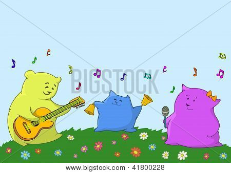 Cartoon toy animals musicians
