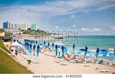 Beautiful Neptun beach in summer, Romania. Neptun is popular summer destination in Romania for  thousands of tourists a year.