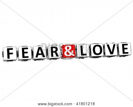 3D Fear And Love Crossword Block Text On White Background