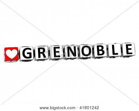 3D I Love Grenoble Crossword Block Text On White Background