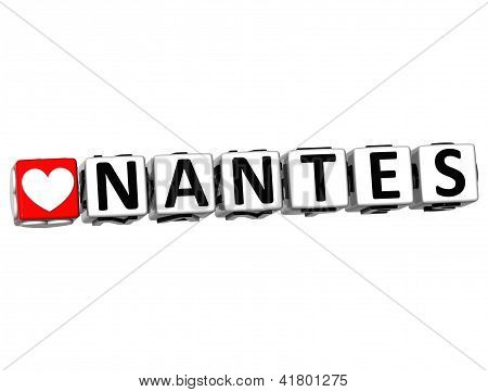3D I Love Nantes Crossword Block Text On White Background