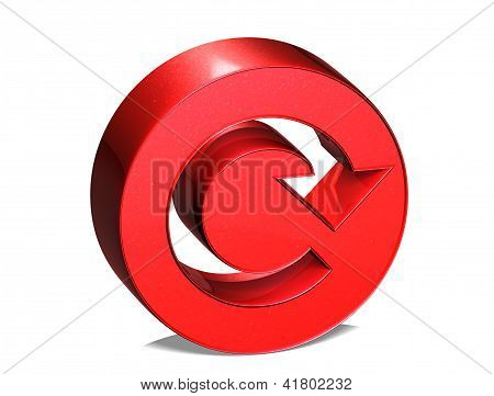 3D Reload Red Sign Over White Background
