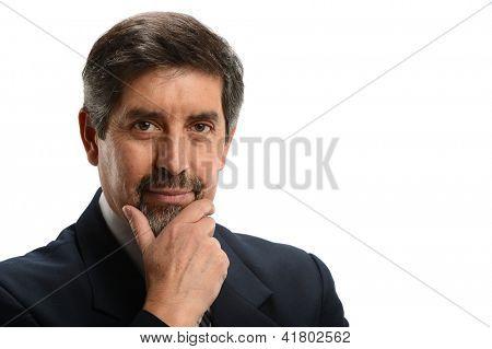 Mature Hispanic Businessman portrait isolated on a white background