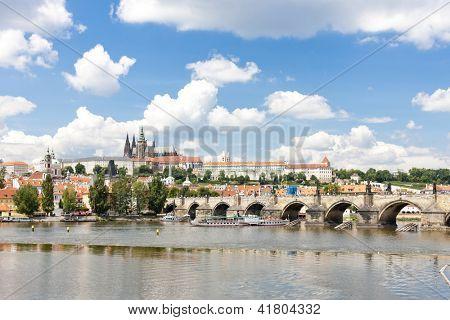 Hradcany with Charles bridge, Prague, Czech Republic