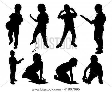 Leisure child. set silhouettes.