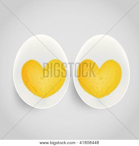 Boiled Egg With Yolk In Heart Shape