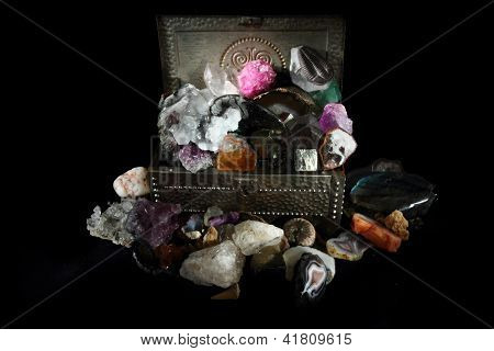 Mineral Collection In The Steel Box