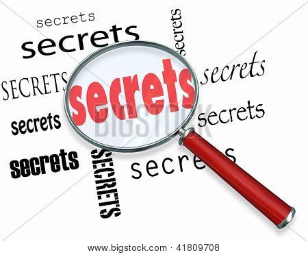 Secrets uncovered by a magnifying glass representing the search for clues in a mystery, with an investigator on the case hunting down facts and unknown pieces to the puzzle