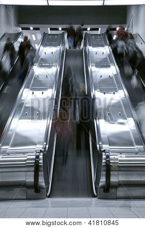 Elevator stair case - rush hour