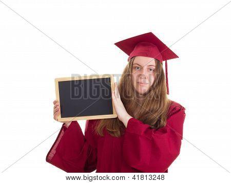 Female Student With Blackboard