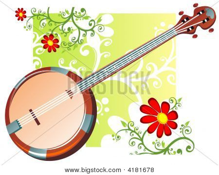 Banjo And Flowers Pattern