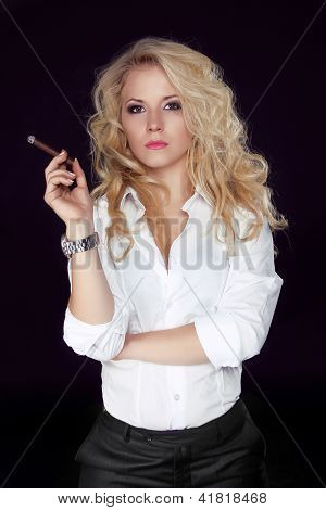 Woman With Cigar Exhaling Smoke On A Dark Background, Men Style