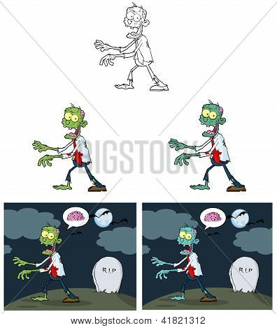 Zombie Cartoon Mascot Characters Collection