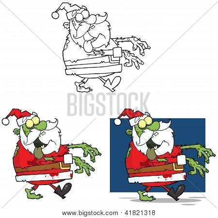 Santa Zombie Cartoon Mascot Characters Collection