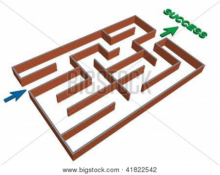 3D Maze Success Concept