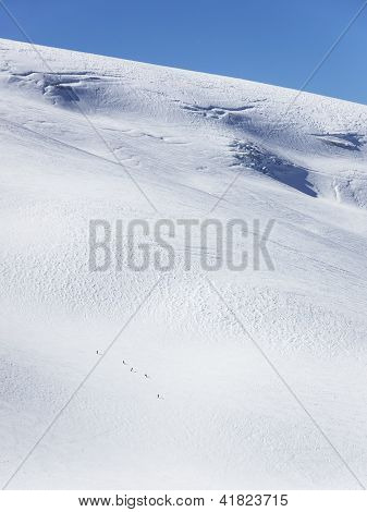 Skiers on glacier in La Grave