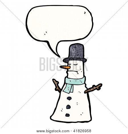 cartoon grumpy snowman