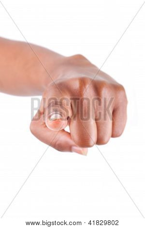 African American Woman Hand Pointing