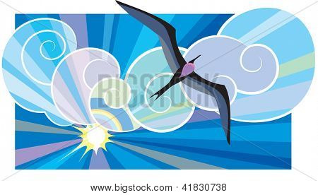 Big black sea-bird Fregata Magnificens flying in the sunburst. Raster image. Find editable version in my portfolio.
