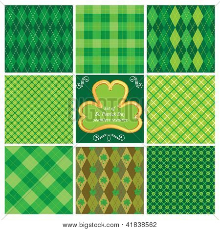 Set Of Green Seamlesspatterns For St. Patrick's Day