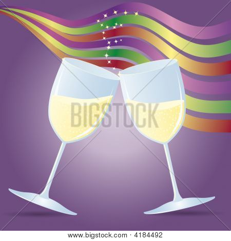 Cups With Champagne And Ribbons