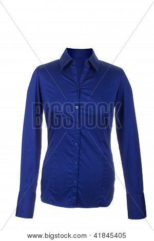 Hollow Blue Blouse With Long Sleeves, Isolated On White Background