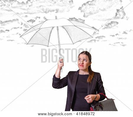 Pretty Girl With Drawing Umbrella Isolated On White Background