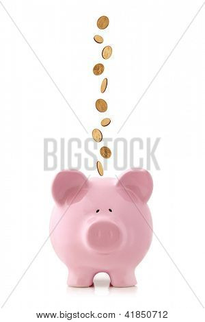 Golden coins falling into a pink piggy bank, isolated on white.  US dollar coins