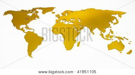 world map golden