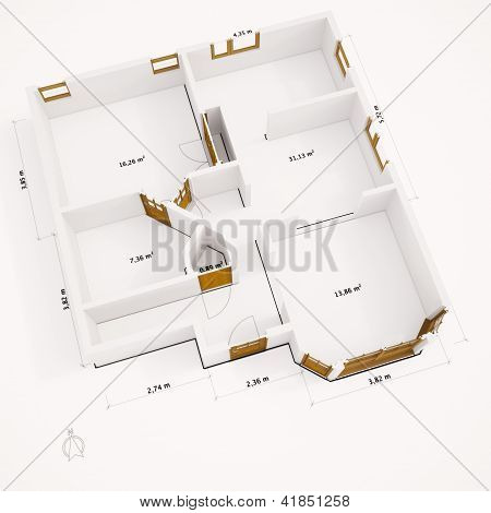 3D Groundplan With Walls