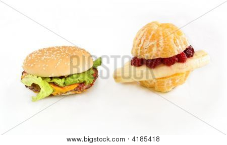 Fruit-Burger Vs Cheesburger (Healthy Vs Unhealthy)