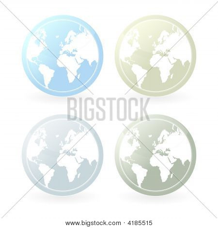 Mildly Colored World Map Icons