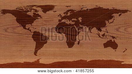Cedar Wood World Map