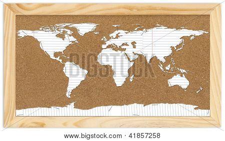 World Map On Corkboard