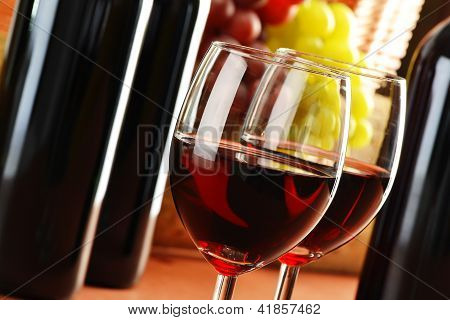 Composition With Two Glasses And Bottles Of Wine