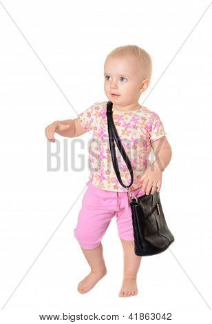 Baby With A Bag On White Background