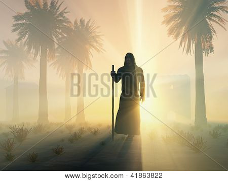 wandering monk at sunrise