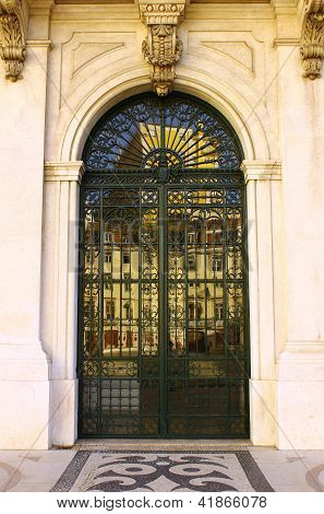 Detail of the main entrance of the Town Hall, Lisbon, Portugal