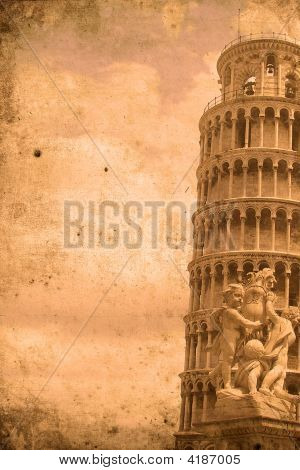 The Leaning Tower Of Pisa Retro