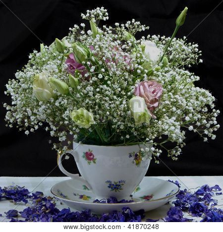 White Roses and Gypsophillia in Bouquet