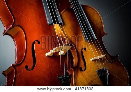 Violin in dark room  - music concept