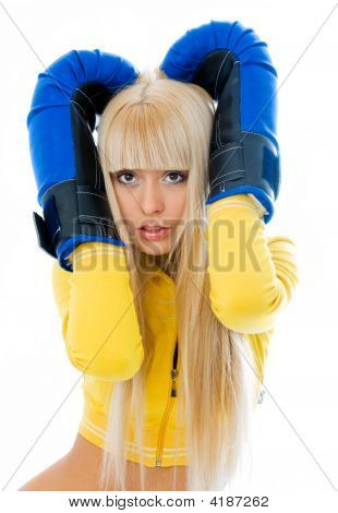Scared Woman Wearing Boxing Gloves